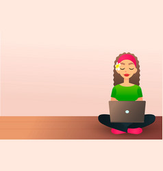 Cute creative girl sits on the wooden floor and vector