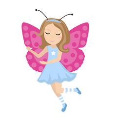 cute girl butterfly icon in flat cartoon style vector image