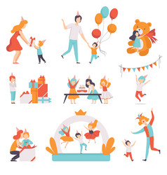 cute little kids celebrating their birthday set vector image