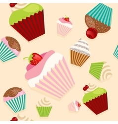 Cute seamless texture with cupcakes vector image