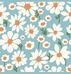 Daisy allover dusty blue seamless repeat pattern vector