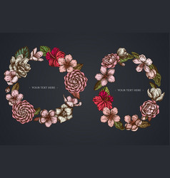 dark floral wreath hibiscus plum flowers vector image