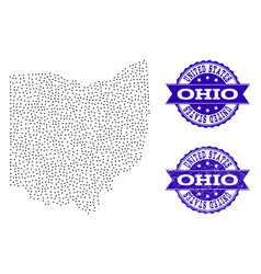 Dotted map of ohio state and scratched seal vector