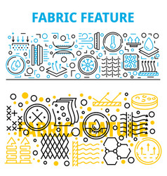 Fabric feature breathable banner set outline vector