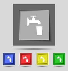 faucet glass water icon sign on original five vector image