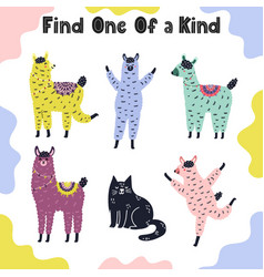 Find one a kind game for kids vector