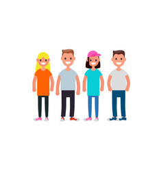 Flat design characters team modern society vector