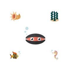 flat icon sea set of seafood scallop seashell vector image