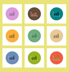 flat icons set of column chart concept on colorful vector image