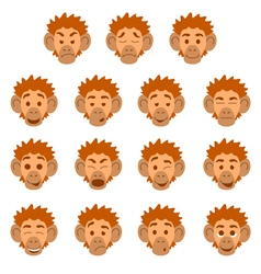 Flat monkey face expressions vector image