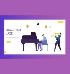 Fun jazz performance concept landing page musician vector