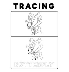 Funny butterfly tracing book with example vector
