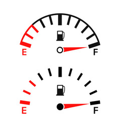 Gauge fuel gas gasoline full or empty vector