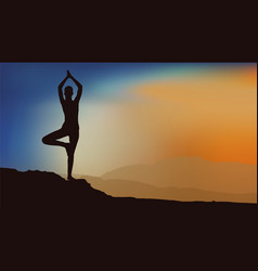 girl doing yoga vector image