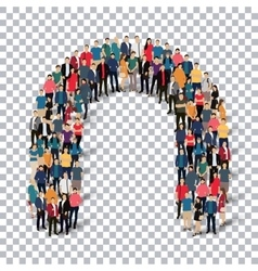 Group people shape letter N Transparency vector