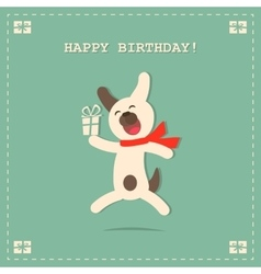 Happy Birthday Card with Dog and Gift vector image