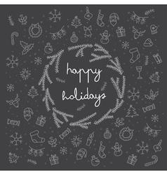 Happy holidays items and sybmol icons card black vector