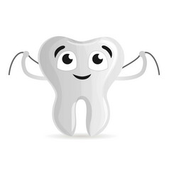 happy tooth with floss icon cartoon style vector image