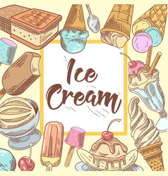Ice cream hand drawn design with cold desserts vector