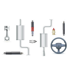 Icons of car parts for garage auto services set vector