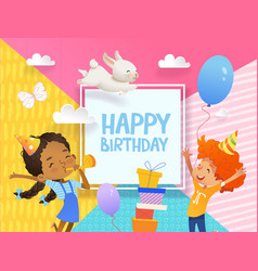 Joyous boy and girl in birthday hats happily jump vector