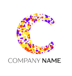 Letter c logo with purple yellow red particles vector