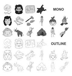 Life in the stone age monochrom icons in set vector