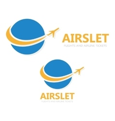 logo globe with airplane vector image
