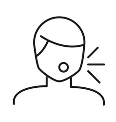 Man avatar with dry cough line style icon vector