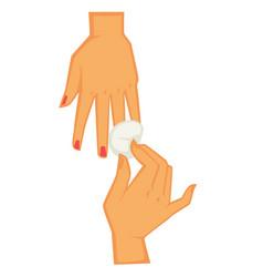 Manicurist removing nail gel polish on procedure vector