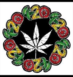 Marijuana textured leaf stamp vector