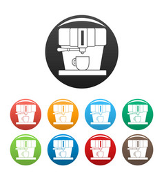 modern coffee machine icons set color vector image