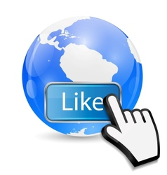 Mouse Hand Cursor on Like Button and Globe vector
