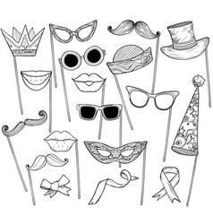 mustache glasses holiday hat and lips vector image