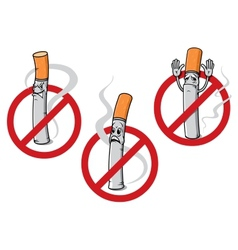 No smoking signs with cigarettes vector image