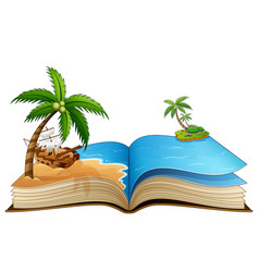 open book with broken pirate ship on the beach vector image