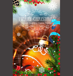 orange christmas bauble with sparkles and fir vector image