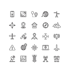 Outline location icons set vector