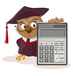 Owl teacher and calculator vector image vector image