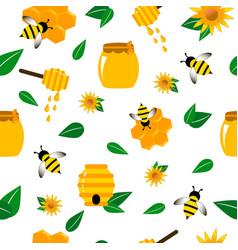 Pattern bee wasp honey in vector