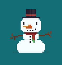 Pixel art snowman vector