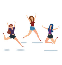 Power girls jumping celebrating characters vector