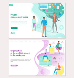 project management basics workplace organization vector image