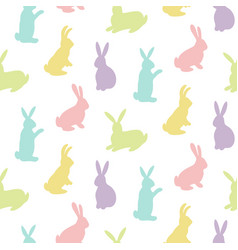 rabbits silhouettes seamless pattern vector image