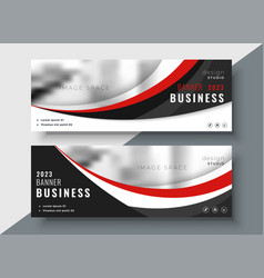 Red and black business banners professional design vector