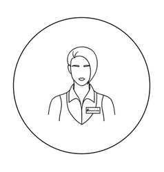 restaurant waitress with a badge icon in outline vector image