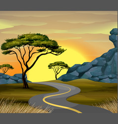 road scene at sunset time vector image