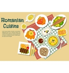 Romanian traditional festive dishes flat icon vector