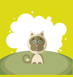 sad cat on a background of white circles in vector image