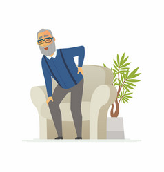 Senior man with a backache - cartoon people vector